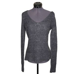 Aerie Scoop Neck Grey Mohair Knit Sweater Top